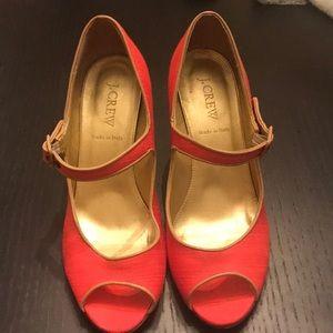 Jcrew orange Fabric heels